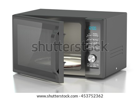 black microwave oven, 3D rendering isolated on white background