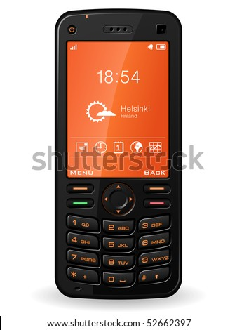 Black mobile phone - stock photo