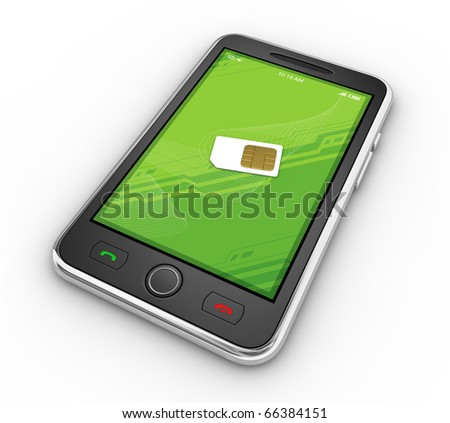 Black mobile smartphone with sim-card.  This is a detailed 3D render. No trademark issues because this is my own design. - stock photo