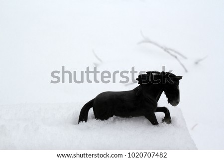 Black model horse galloping through the winter snow