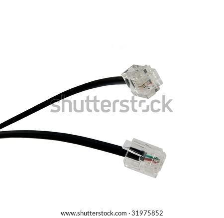 Black Modem Cables Macro - stock photo
