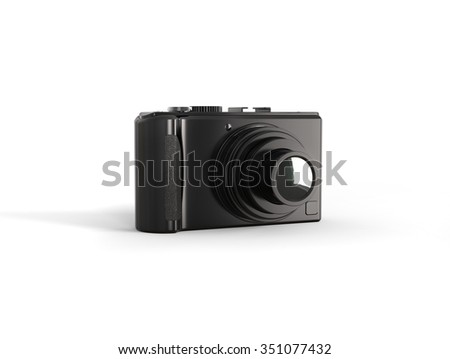 Black modern compact digital photo camera - stock photo