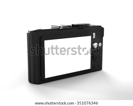 Black modern compact digital photo camera - back view - stock photo