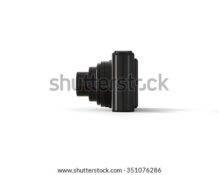 Black modern compact digital photo camera - side view - stock photo