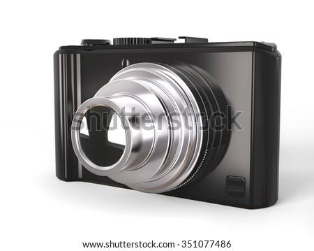 Black modern compact digital photo camera with silver lens - stock photo