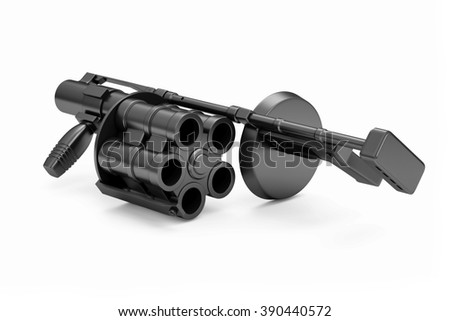 Black Modern Grenade launcher isolated on white background. Military Tactical Weapons Concept - stock photo