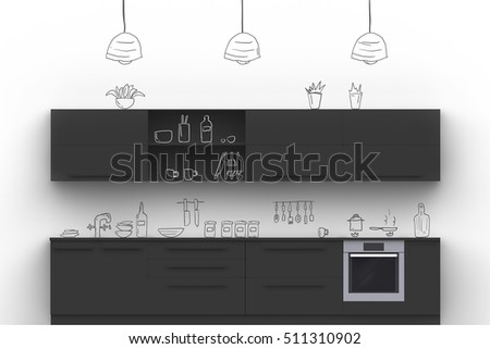 Black Modern Kitchen With Hand Drawn Painted On White Wall Doodle  Kitchenware And Kitchen Accessories.