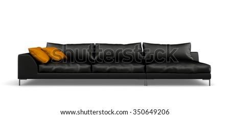 Black modern sofa isolated on white background 3D rendering  - stock photo