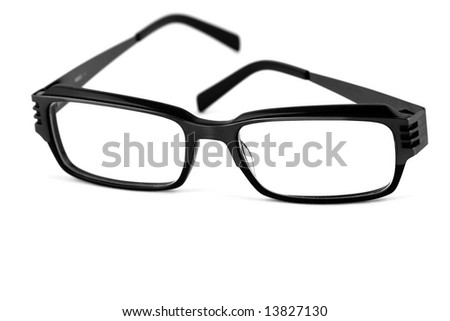 Black modern spectacles isolated on white background - stock photo