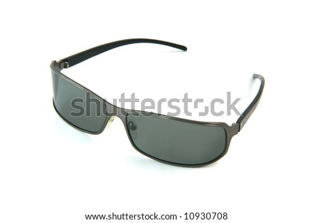black modern sun glasses isolated on white background fashion concepts - stock photo