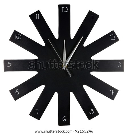 Black modern wall clock on white background - stock photo