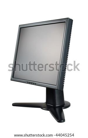 black monitor isolated on white - stock photo