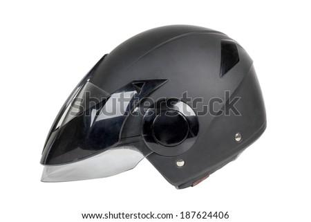 Black motorcycle helmet on a white background - stock photo