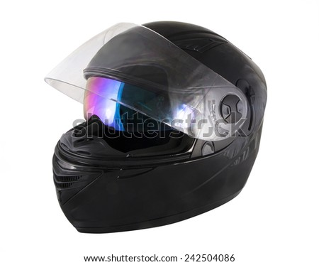Black motorcycle helmet over white background