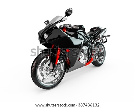 Black motorcycle isolated on a white background. - stock photo