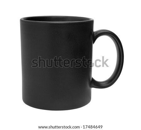 Black mug empty blank for coffee or tea isolated on white background - stock photo