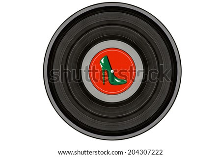 black music record with green stiletto shoe on red label isolated on white background - stock photo