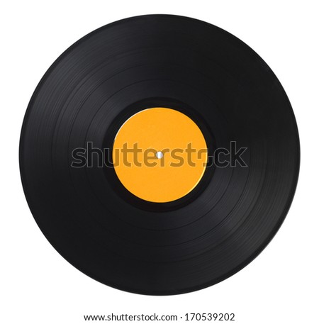 Black Music Record With Yellow Label Isolated on White Background.