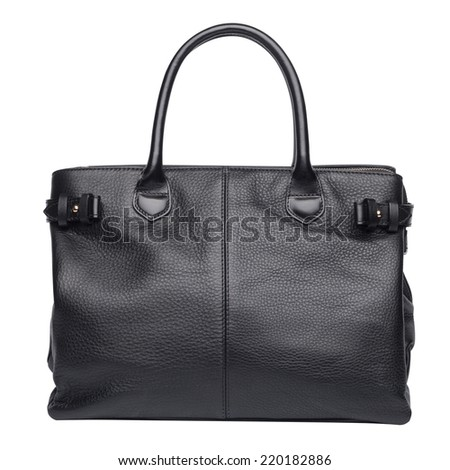 Black natural leather female purse isolated on white