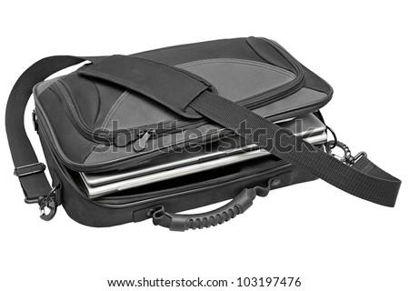 black notebook bag isolated on white background - stock photo