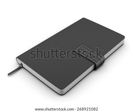 Black notebook for notes on a white background. 3d illustration. - stock photo
