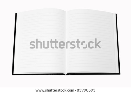 black Notebook isolate on white background , blank for your text