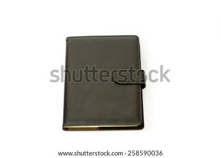 black notebook isolated on white - stock photo