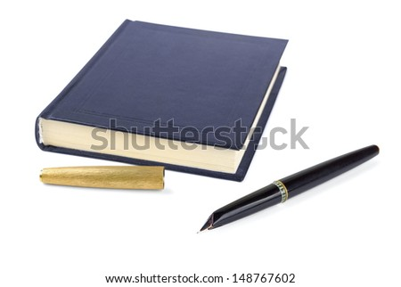 Black notebook with pen on a white background