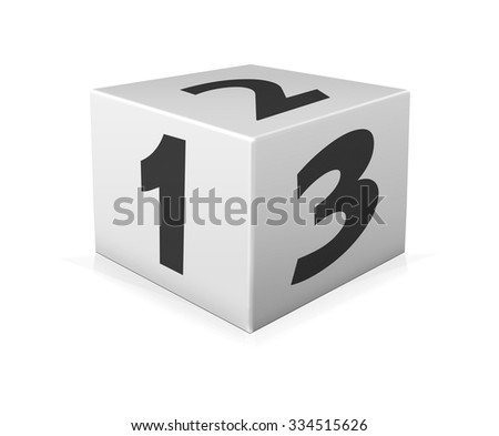 Black numbers 123 on white box. One 123 block on white background - stock photo