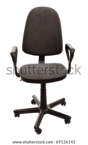 black office chair isolated on white background - stock photo