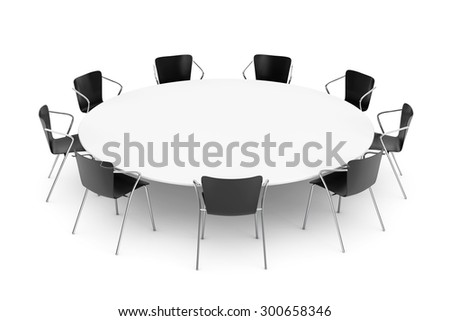 Black Office Chairs and Conference Round Table on a white background - stock photo