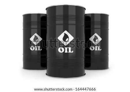 Black oil barrels. Isolated on white background - stock photo