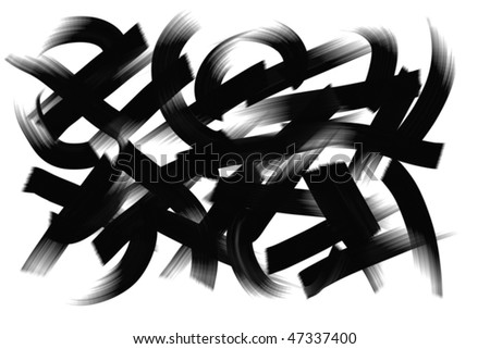 Black oil paint or ink smear curve lines. Real media illustration. - stock photo