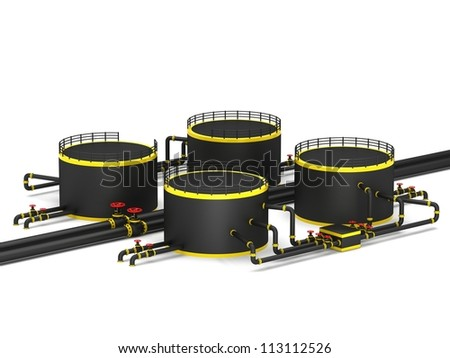 Black oil storage tank and pipeline on a white background - stock photo