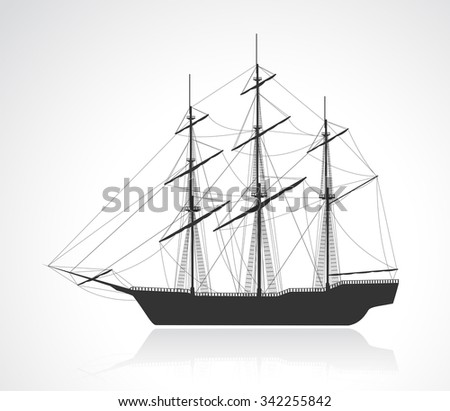 Black old sailing ship silhouette. Detail raster illustration.