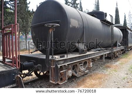 Black Old Train in Amman,Jordan - stock photo