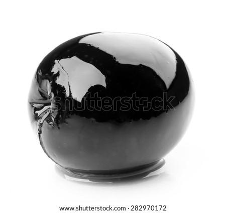 Black olive isolated on white - stock photo