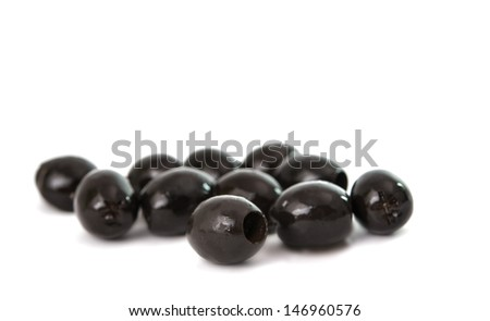Black olives isolated on a white background