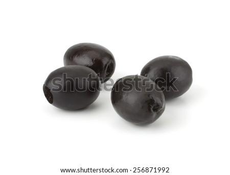 Black olives isolated on white background close-up - stock photo