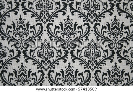 Black on grey seamless damask pattern. Nice to use as background. - stock photo