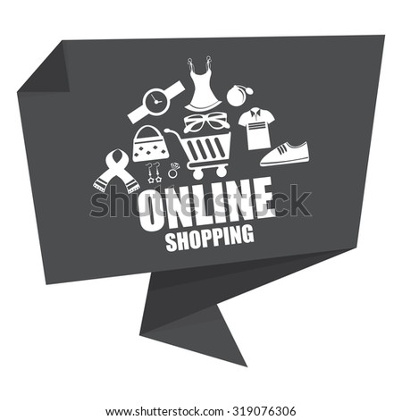 Black Online Shopping Paper Origami Speech Bubble or Speech Balloon Infographics Sticker, Label, Sign or Icon Isolated on White Background - stock photo