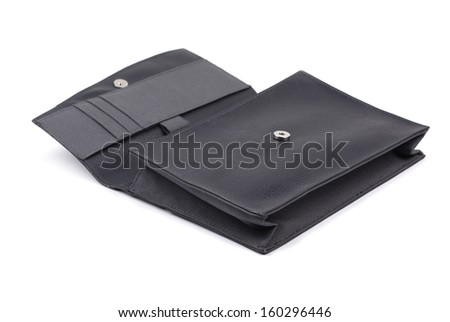 Black opened briefcase on a white background - stock photo