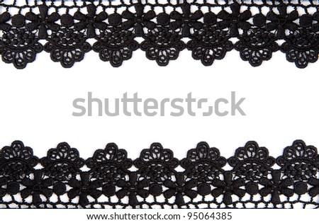 Black openwork lace isolated on white background - stock photo