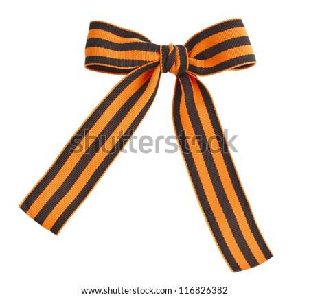 black orange strip bow in the orange bar surface close up  isolated on white background - stock photo