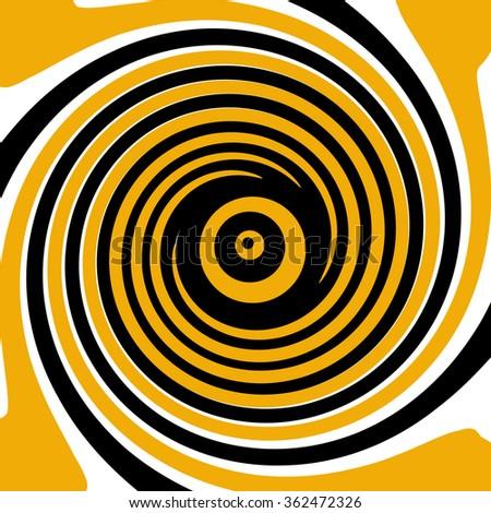Black orange white twirling psychedelic spiral  - stock photo
