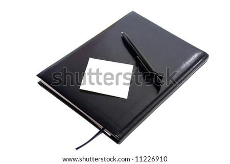 black organiser with black pen - stock photo