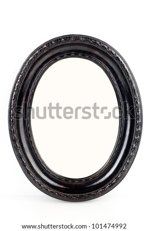 Black oval wooden frame isolated on white background - stock photo