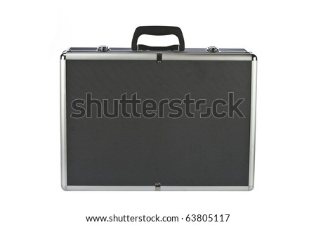 Black padded aluminum briefcase isolated on white