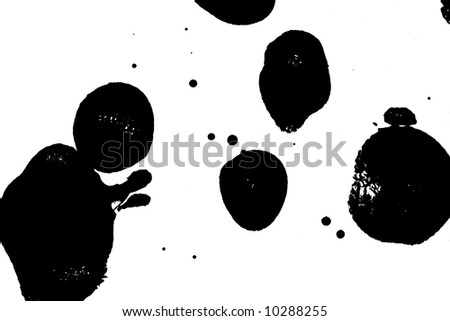 Black paint blobs on a white background - stock photo