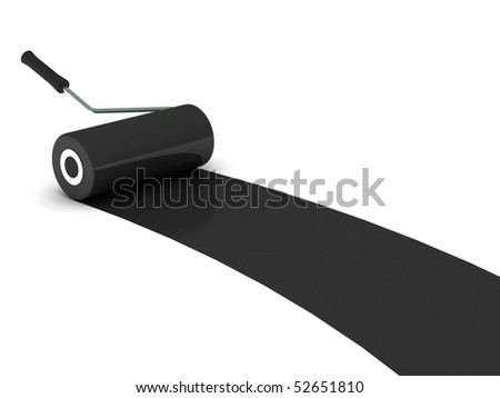 Black paint roller isolated on white background. High quality 3d render. - stock photo